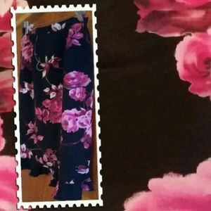 Notations Black Pink Floral Straight Skirt Ruffle